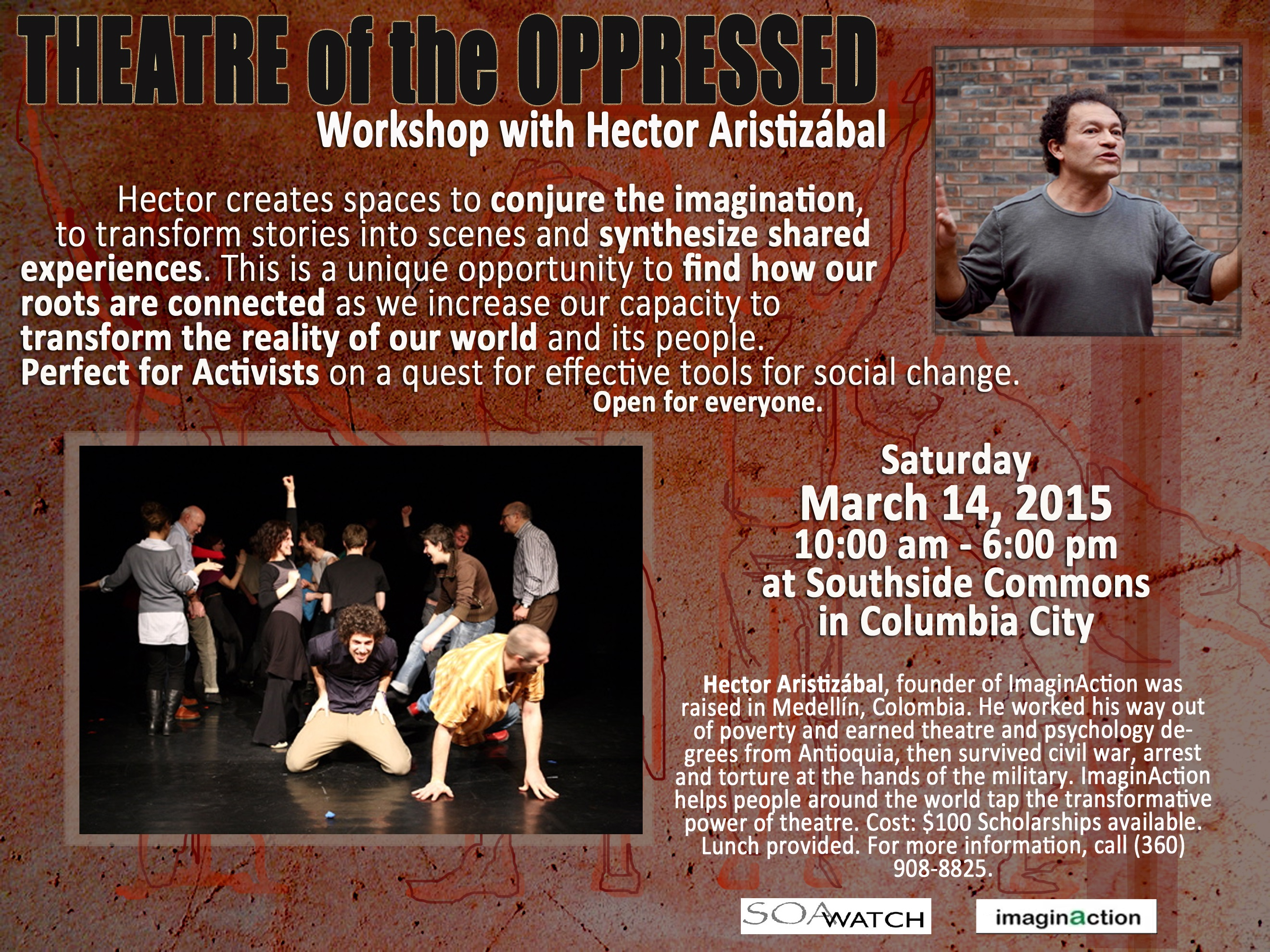 Theater of the oppressed workshop palm card